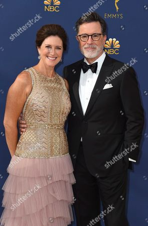 Evelyn McGee-Colbert, Stephen Colbert. Evelyn McGee-Colbert and Stephen Colbert arrive at the 70th Primetime Emmy Awards, at the Microsoft Theater in Los Angeles