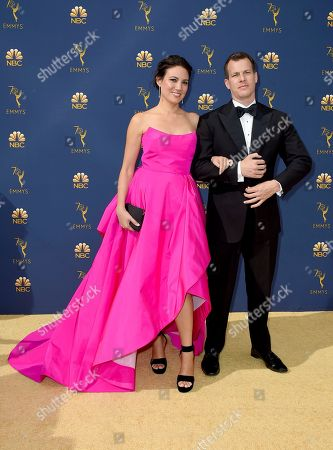 Lisa Joy, Jonathan Nolan. Lisa Joy and Jonathan Nolan arrive at the 70th Primetime Emmy Awards, at the Microsoft Theater in Los Angeles