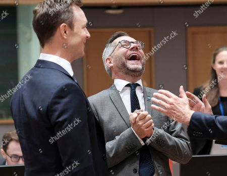 German Minister of State for European Affairs Michael Roth (C) and Austrian Minister in Charge of EU affairs Gernot Blumel (L) react during a European General Affairs Council in Brussels, Belgium, 18 September 2018. Council will focus on proposal under Article7 (1) TEU of the Treaty on European Union concerning the rule of law in Poland.