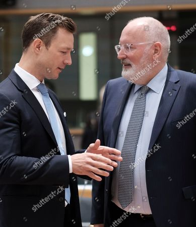Austrian Minister in Charge of EU affairs Gernot Blumel chats with European commission Vice President, Dutch Frans Timmermans (R) during a European General Affairs Council in Brussels, Belgium, 18 September 2018. Council will focus on proposal under Article7 (1) TEU of the Treaty on European Union concerning the rule of law in Poland.