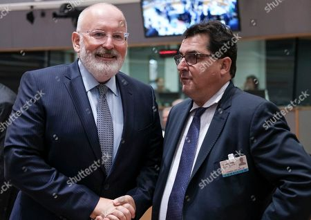 Luis Marco Aguiriano Nalda the Spanish State Secretary for the European Union chats with European commission Vice President, Dutch Frans Timmermans (L) during a European General Affairs Council in Brussels, Belgium, 18 September 2018. Council will focus on proposal under Article7 (1) TEU of the Treaty on European Union concerning the rule of law in Poland.