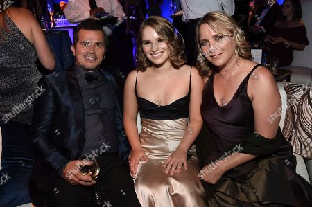 John Leguizamo, Allegra Leguizamo, Justine Maurer. John Leguizamo, from left, Allegra Leguizamo and Justine Maurer attends the Governors Ball during the 2018 Primetime Emmys Awards at the Microsoft Theater, in Los Angeles
