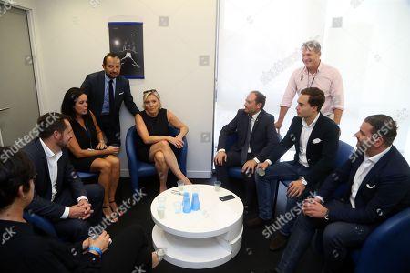 Stock Photo of Nicolas Bay, Catherine Griset, Sebastien Chenu, Marine Le Pen, Flavio di Muro (depute italien de la Lega), Philippe Olivier, Maximilian Krauss FPO (Vice maire de Vienne)