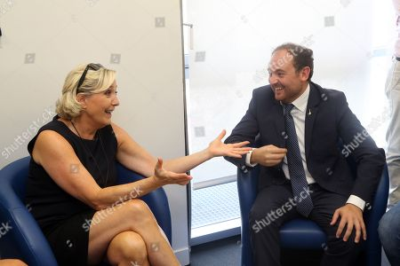 Editorial image of Marine Le Pen backstage after her comeback speech in Frejus, France - 16 Sep 2018
