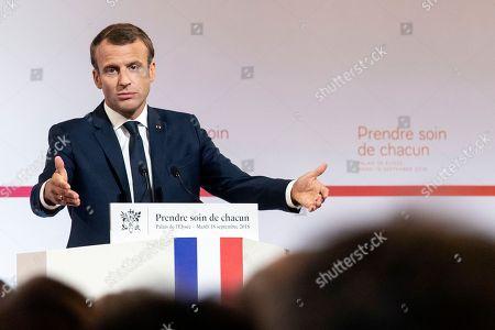 President Emmanuel Macron delivers a speech on healthcare, Paris