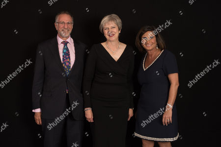 Stock Photo of Sir Mick Davis, Prime Minister Rt Hon Theresa May, Chairperson of UJIA Louise Jacobs.