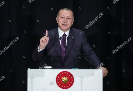President Erdogan at a ceremony marking the new academic year, Istanbul