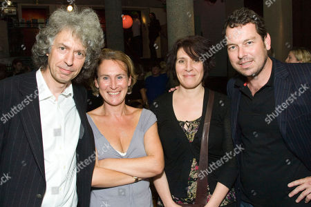 Stephen Jeffreys, Helen Schlesinger, April De Angelis and Joe Penhall attend the after party on Press Night for Now or Later at the Royal Court Theatre
