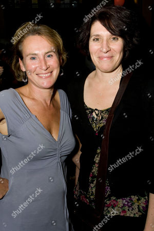 Helen Schlesinger and April De Angelis attend the after party on Press Night for Now or Later at the Royal Court Theatre