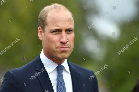 Prince William before unveiling a new sculpture of Major Foley by artist Andy de Comyn.