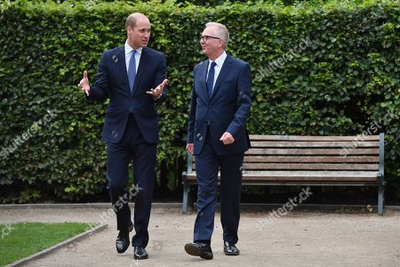 Prince William speaks with Ian Austin MP before unveiling a new sculpture of Major Frank Foley by artist Andy de Comyn. Major Foley was a British Intelligence Officer for the Embassy in Berlin where he bent the rules to allow thousands of Jewish families escape Nazi Germany