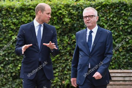 Prince William speaks with Ian Austin MP before unveiling a new sculpture of Major Frank Foley by artist Andy de Comyn. Major Foley was a British Intelligence Officer for the Embassy in Berlin where he bent the rules to allow thousands of Jewish families escape Nazi Germany.
