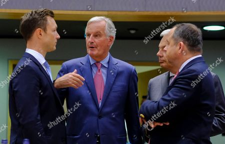 (L-R) Austrian Minister in Charge of EU affairs Gernot Blumel, Michel Barnier, the European Chief Negotiator of the Task Force for the Preparation and Conduct of the Negotiations with the United Kingdom under Article 50, Belgium Foreign minister Didier Reynders and  Konrad Szymanski, Polish European affairs minister during a Special European general affairs council on Brexit in Brussels, Belgium, 18 September 2018.