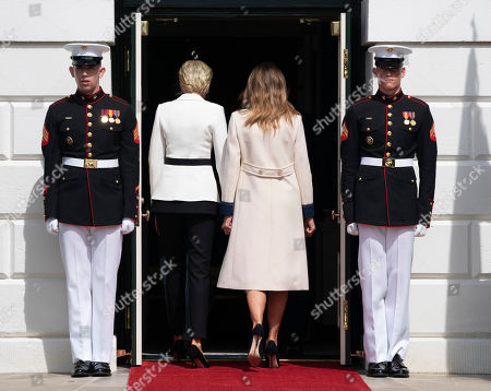 United States First Lady Melania Trump and Mrs. Agata Kornhauser-Duda the spouse of the President of the Republic of Poland Andrzej Duda walk into The White House