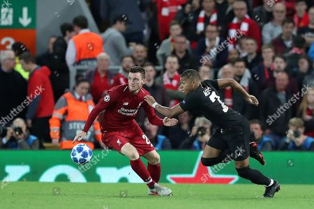 4766c0289e88b4 Kylian Mbappe of Paris Saint-Germain and Andy Robertson of Liverpool