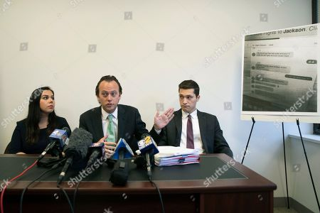 Stock Photo of Attorney Jordan Merson, center, is joined by attorney Jaclyn Ponish, right, and law clerk Jesste Mautner, as he speaks to reporters about text messages shared by Chase Finlay during a news conference, in New York. Merson represents Alexandra Waterbury, who filed a lawsuit in NY State Supreme Court against her ex-boyfriend, Finlay, and the New York City Ballet where he had been a principal dancer, after he inappropriately shared nude photos and videos of her