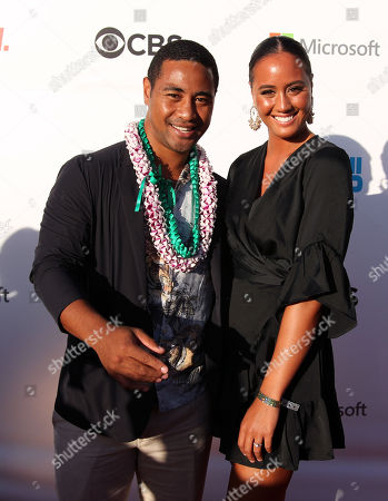 Beulah Koale and his lovely wife Georgia Otene on the red carpet during the Hawaii Five-O and Magnum P.I. Sunset On The Beach event on Waikiki Beach in Honolulu, Hawaii - Michael Sullivan/CSM