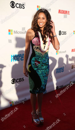 Meaghan Rath graces the red carpet during the Hawaii Five-O and Magnum P.I. Sunset On The Beach event on Waikiki Beach in Honolulu, Hawaii - Michael Sullivan/CSM
