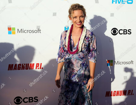 Perdita Weeks, palying the role of Juliet Higgins'' on the red carpet during the Hawaii Five-O and Magnum P.I. Sunset On The Beach event on Waikiki Beach in Honolulu, Hawaii - Michael Sullivan/CSM