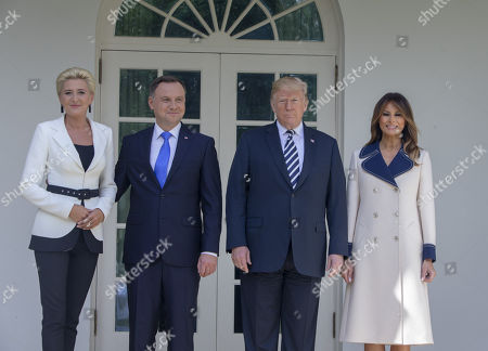 Stock Photo of Mrs Kornhauser-Duda, President of Poland Andrzej Duda, United States President Donald J. Trump and First lady Melania Trump pose outside the White House An Oval Office meeting is scheduled.
