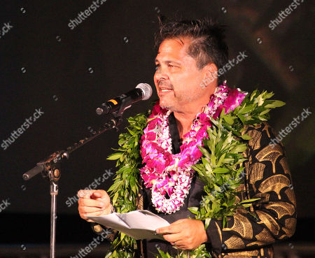 Peter M. Lenkov addresses the crowd, cast and crew during the Hawaii Five-O and Magnum P.I. Sunset On The Beach event on Waikiki Beach in Honolulu, Hawaii - Michael Sullivan/CSM