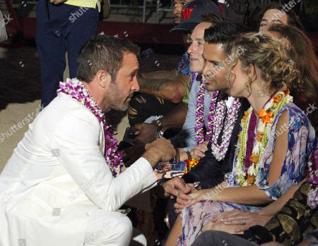 Alex O'Loughlin chats with Jay Hernandez and Perdita Weeks during the Hawaii Five-O and Magnum P.I. Sunset On The Beach event on Waikiki Beach in Honolulu, Hawaii - Michael Sullivan/CSM