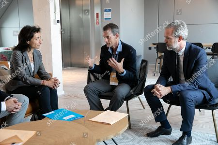 Delphine Geny-Stephann Secretary of State, Jeff Dean DG Google AI and Sebastien Missoffe DG Google France
