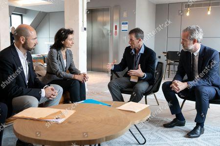 Olivier Bouquet DG Google AI Europe, Delphine Geny-Stephann Secretary of State, Jeff Dean DG Google AI and Sebastien Missoffe DG Google France
