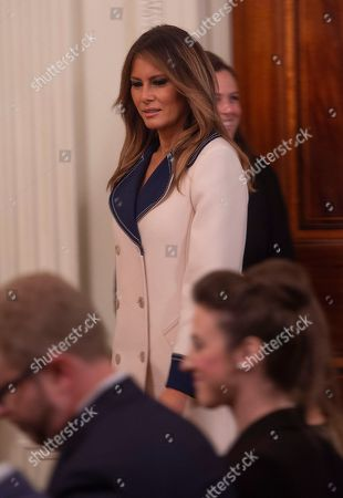 US First Lady Melania Trump attends the press conference of US President Trump and President of Poland in the East Room of the White House