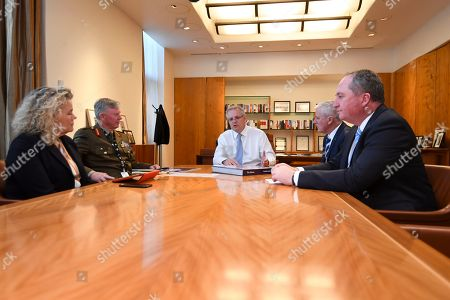 (L-R) Fiona Simson, National drought coordinator Major General Stephen Day, Australian Prime Minister Scott Morrision, Australian Deputy Prime Minister Michael McCormack and Drought Envoy Barnaby Joyce attend a Drought Response Roundtable at Parliament House in Canberra, Australia, 19 September 2018.