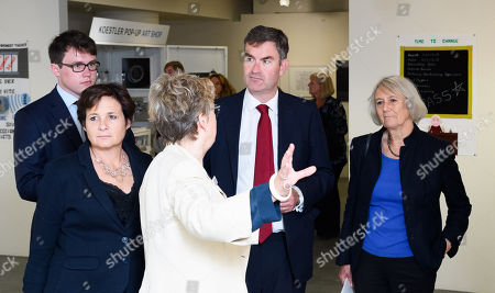 Stock Picture of Eliane Bedell CEO, of Southbank Centre, Sally Taylor CEO of Koestler Trust, Rt Hon David Gauke MP and Dame Anne Owers DBE Chair of Trustees (Koestler Trust)