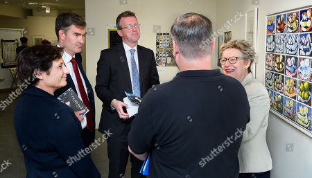 Stock Image of Eliane Bedell CEO, of Southbank Centre, Rt Hon David Gauke MP, Lord Chancellor and Secretary of State for Justice, Rt Hon Jeremy Wright MP, Secretary of State for Digital, Culture, Media and Sport and Sally Taylor CEO of Koestler Trust