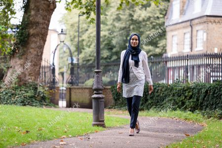Writer and politician, Rabina Khan poses for photographs in Wapping, Tower Hamlets the day before announcing that she has joined the Liberal Democrats party.