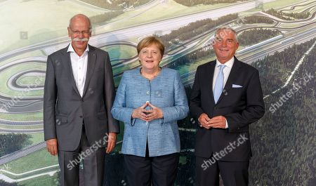 Dieter Zetsche (L), Chairman of the Board of Management of Daimler AG and Chief Executive Officer of Mercedes-Benz Cars, German chancellor and Angela Merkel Thomas Strobl (R), Christian Democratic Union's (CDU) vice-chairman attend the inauguration of Daimler Test and Technology Centre in Immendingen, Germany, 19 September 2018. On the 520-hectare site of Daimler Test and Technology Centre in Immendingen, more than 300 employees will be working on testing assistance systems, autonomous driving functions and electric vehicles of the 'EQ' product and technology brand, among other things.