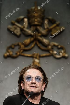 Stock Picture of Bono Vox (Paul David Hewson), frontman of U2 rockband, attends a press conference after the meeting with Pope Francis, in Vatican City, 19 September 2018.