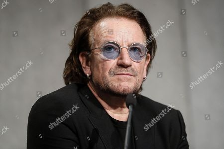 Bono Vox (Paul David Hewson), frontman of U2 rockband, attends a press conference after the meeting with Pope Francis, in Vatican City, 19 September 2018.