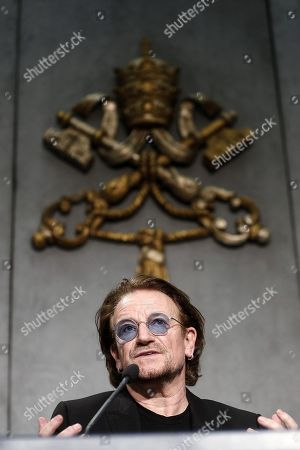 Stock Photo of Bono Vox (Paul David Hewson), frontman of U2 rockband, attends a press conference after the meeting with Pope Francis, in Vatican City, 19 September 2018.