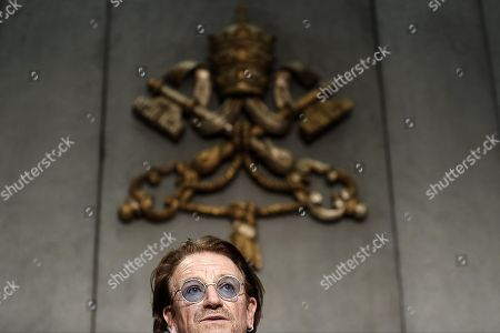 Stock Image of Bono Vox (Paul David Hewson), frontman of U2 rockband, attends a press conference after the meeting with Pope Francis, in Vatican City, 19 September 2018.
