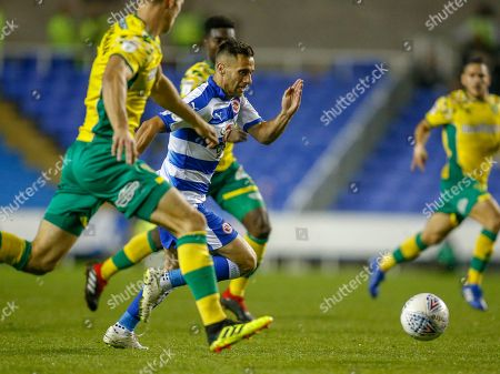 Reading new signing midfielder Saeid Ezatolahi   (32) on the ball during the EFL Sky Bet Championship match between Reading and Norwich City at the Madejski Stadium, Reading