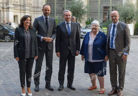 Arrival of Anne Hidalgo, Mayor of Paris, Edouard Philippe, Prime Minister, Jean-Luc Moudenc, Mayor of Toulouse and President of France urbaine, Jacqueline Gourault, Jean-Michel Blanquer, Education Minister