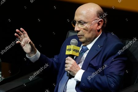 Brazil's former Finance Minister Henrique Meirelles, Brazil's presidential candidate for the Democratic Movement Party, speaks during a interview in Sao Paulo, Brazil, . Brazil will hold general elections on Oct. 7