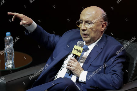 Brazilian presidential candidate of the 'Brazilian Democratic Movement' party (PMDB) Henrique Meirelles participates in an event organized by the 'Veja' weekly news magazine, in Sao Paulo, Brazil, 19 September 2018.