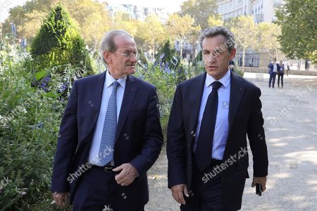 Stock Picture of French former President Nicolas Sarkozy (R) arrives with his cabinet director and former Paris' Police Prefect Michel Gaudin (L), to attend a national ceremony to pay tribute to the victims of terrorism in Paris, France, 19 September 2018.
