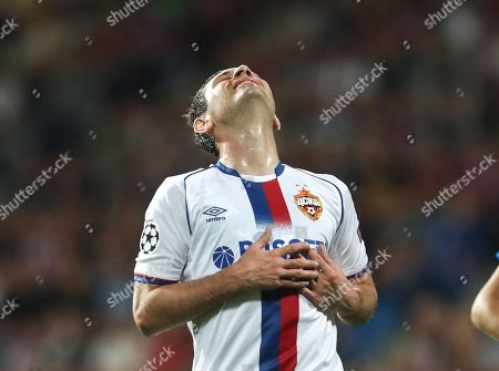 CSKA's Alan Dzagoev reacts during the UEFA Champions League group G soccer match between Viktoria Plzen and CSKA Moscow in Plzen, Czech Republic, 19 September 2018.