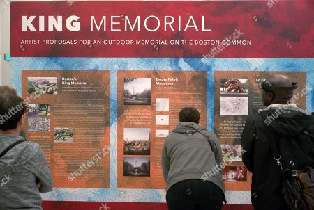 Boston residents look at the design proposals for a Martin Luther King Boston Common Memorial at the Boston Public Library in Boston, Massachusetts, USA, 19 September 2018. Five final designs are on display for comments from the public through 16 October 2018.