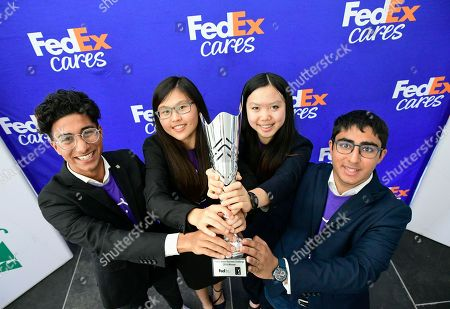 MyCryptoHippo, from JA of Central Ontario, celebrates winning the FedEx Junior Business Challenge finals at the TOUR Championship, where they presented their original business concept and were chosen by the panel judges, including Warrick Dunn (3x Pro Bowler and Atlanta Falcons Ring of Honor member), Marc Leishman (3x PGA TOUR tournament winner), David Cunningham (President and CEO of FedEx Express) and Ryan Lane (Owner of Dream Beard and FedEx Small Business Grant Recipient), to receive a $75,000 donation from FedEx to their local JA chapter held on in Atlanta