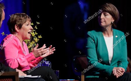 Lisa Brown, left, Democratic challenger to U.S. Rep. Cathy McMorris Rodgers, R-Spokane, right, speaks during a debate, in Spokane, Wash