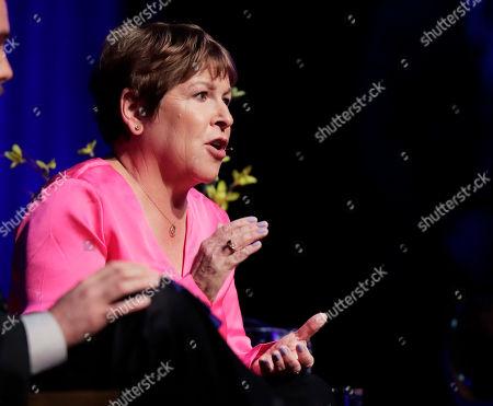 Lisa Brown, Democratic challenger to U.S. Rep. Cathy McMorris Rodgers, R-Spokane, speaks during a debate, in Spokane, Wash