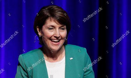 U.S. Rep. Cathy McMorris Rodgers, R-Spokane, who is being challenged by Democrat Lisa Brown, smiles during a debate with Brown, in Spokane, Wash