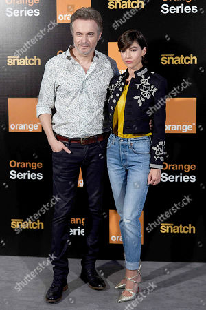 Tristan Ulloa and Ursula Corbero attend the 'Snatch' second season presentation at Sony offices in Madrid.